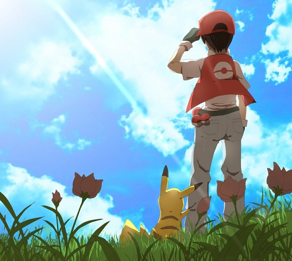 Tags: Anime, Pixiv Id 1787261, Pokémon, Red (Pokémon), Pikachu, Cap, Hand on Hat