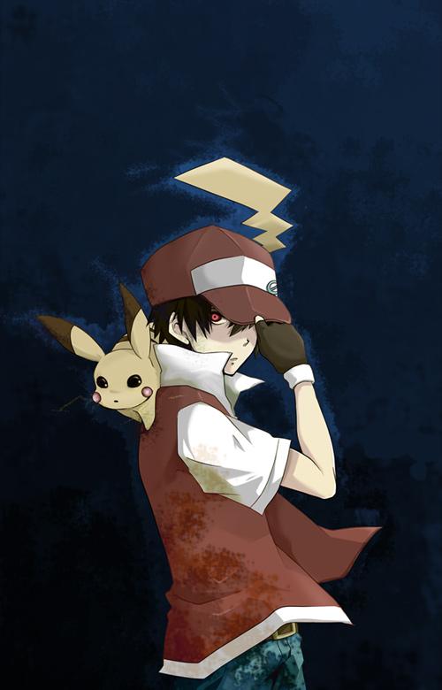Tags: Anime, Pixiv Id 32185, Pokémon, Red (Pokémon), Pikachu, Mobile Wallpaper