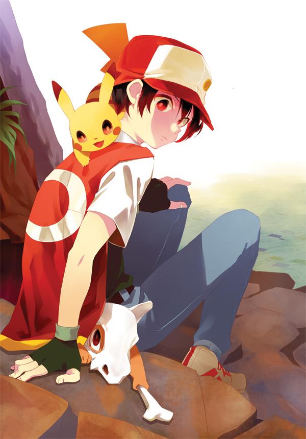 Tags: Anime, Pixiv Id 868186, Pokémon, Cubone, Red (Pokémon), Pikachu, Mobile Wallpaper