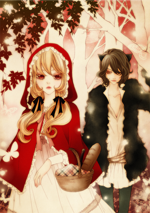 Tags: Anime, sizh, Red Riding Hood, Red Riding Hood (Character), Big Bad Wolf, Pixiv, Mobile Wallpaper