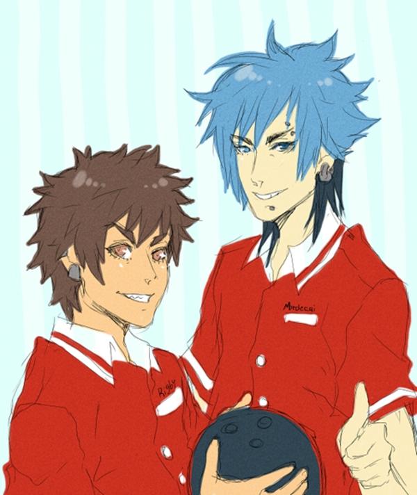 Tags: Anime, Mookie, Regular Show, Mordecai (Regular Show), Rigby, Bowling Ball, Sketch, Fanart, Tumblr, Studios