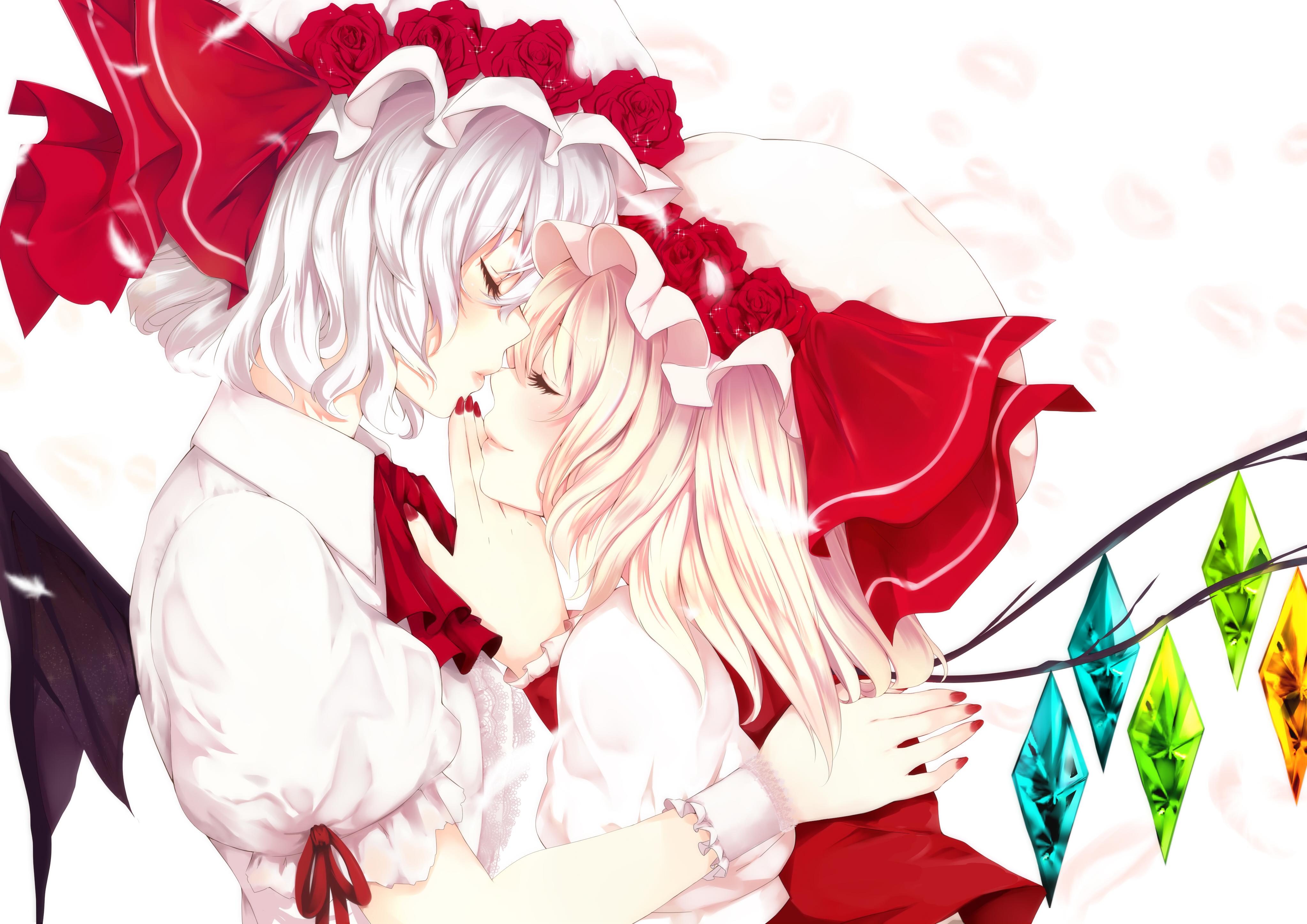 Смайлики поцелуями, открытки аниме розы