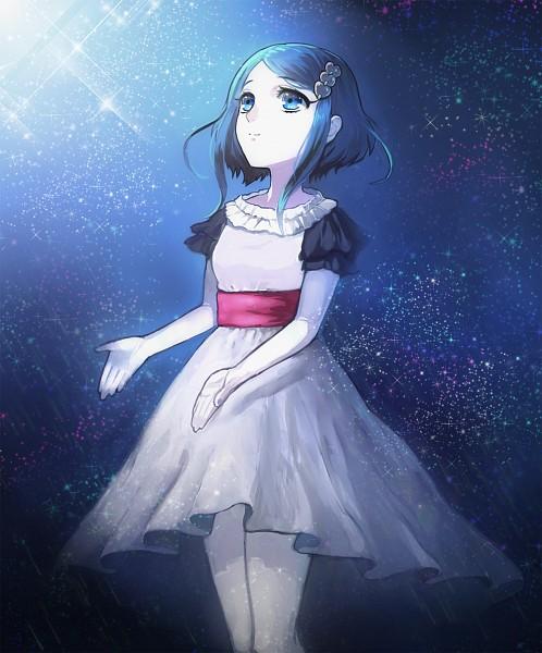 Tags: Anime, Tatsuki, Looking Up, Short Sleeves, Blue Sky, Stars (Sky), Night Sky