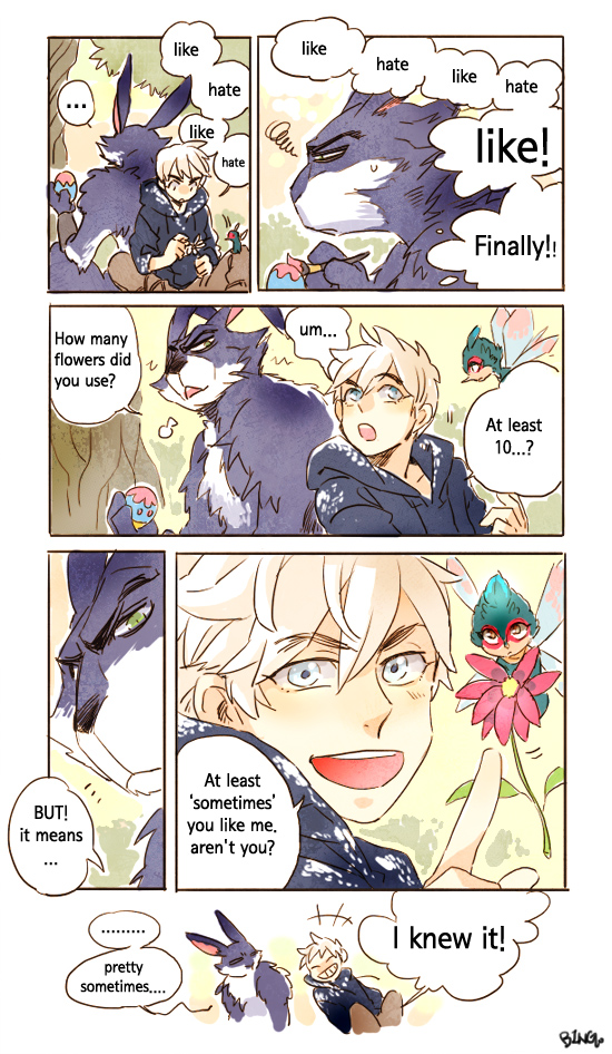 Tags: Anime, Bingo (Habanera), Rise of the Guardians, Baby Tooth, E. Aster Bunnymund, Jack Frost, Blue Hoodie, Tumblr, Comic, Mobile Wallpaper