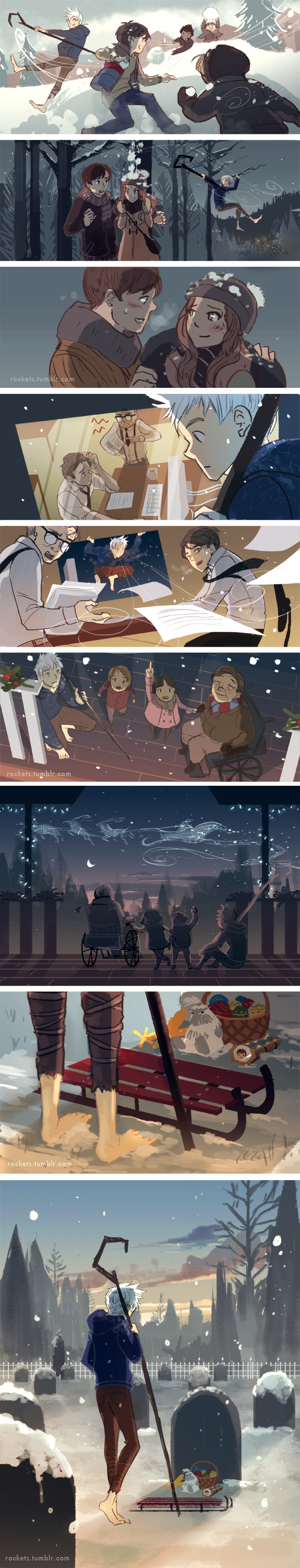 Tags: Anime, Hakuku, Rise of the Guardians, Jamie Bennett, Fan Character, Jack Frost, Throwing, Graveyard, Wheelchair, Wheel, Snowball, Paperwork, Comic