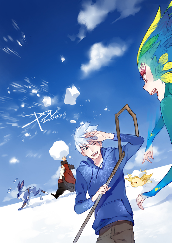 Tags: Anime, PSD, Rise of the Guardians, Toothiana, E. Aster Bunnymund, Nicholas St. North, Jack Frost, Sandman (Rotg), Bird Person, Snowball, Fanart From Pixiv, Fanart, Mobile Wallpaper