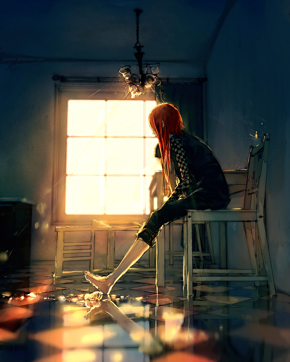 Anime Sitting On Chair Lonely - Zerochan Anim...