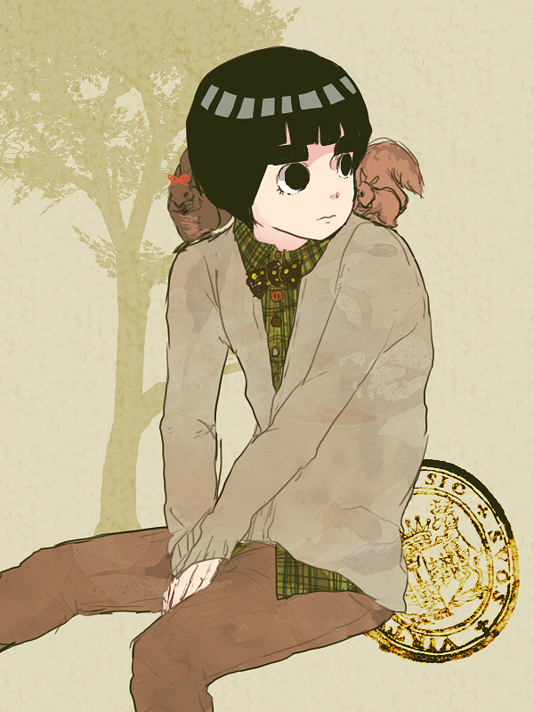 Tags: Anime, Chiri, NARUTO, Rock Lee, Squirrel, Fanart