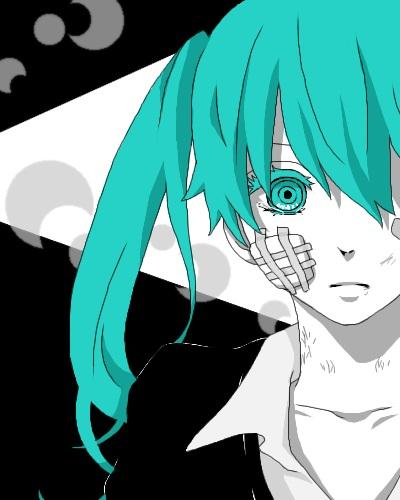 Tags: Anime, Pixiv Id 1500425, VOCALOID, Hatsune Miku, Bandaged Cheek, Pixel Art, Rolling Girl, Fanart, Pixiv