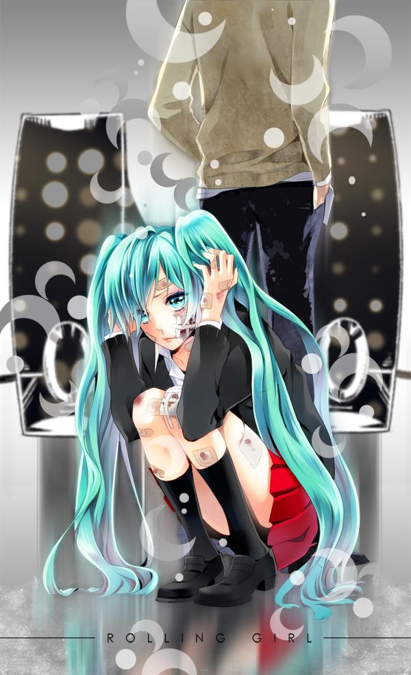 Tags: Anime, Cocoon (Artist), VOCALOID, Hatsune Miku, Bandaged Cheek, Bandaged Legs, Fanart, Rolling Girl, Mobile Wallpaper, Pixiv