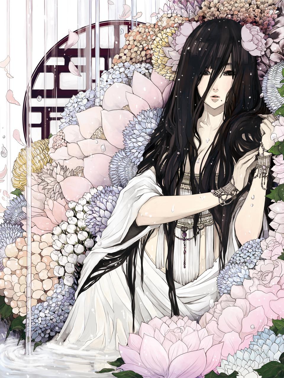 Девушки с длинными волосами аниме картинки 7
