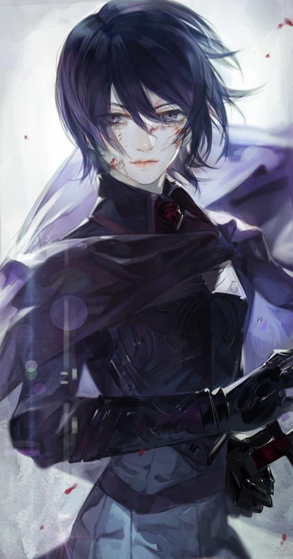 anime girl black short hair