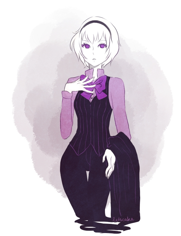 Tags: Anime, Letscake, Homestuck, Rose Lalonde, Bow Tie, Hand on Chest, One Arm Up