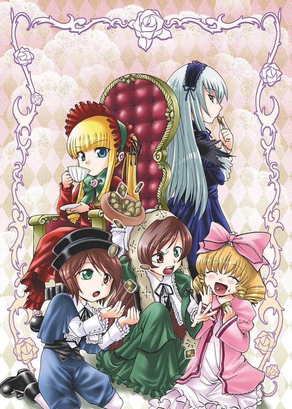 Tags: Anime, Kitano Tomotoshi, Rozen Maiden, Suiseiseki, Shinku, Hina Ichigo, Suigintou, Souseiseki, Fanart