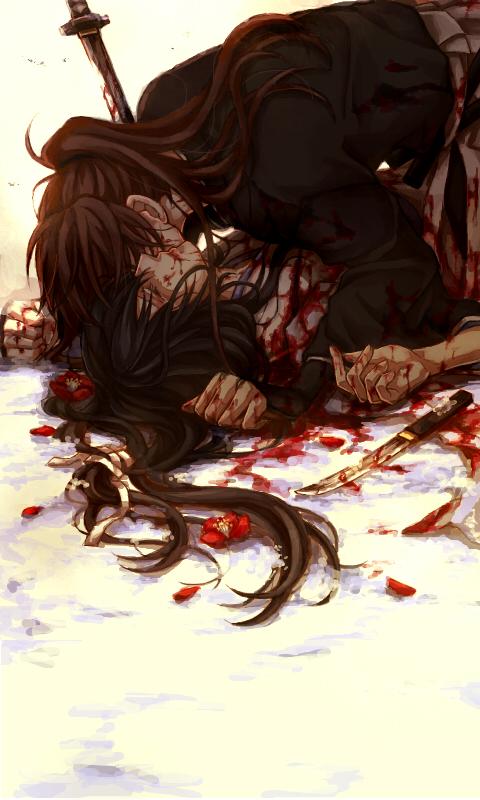 Tags: Anime, Kuro (Pixiv12803091), Rurouni Kenshin, Rurouni Kenshin: Tsuioku-hen, Himura Kenshin, Yukishiro Tomoe, Blood On Weapons, Fanart, Mobile Wallpaper, Pixiv
