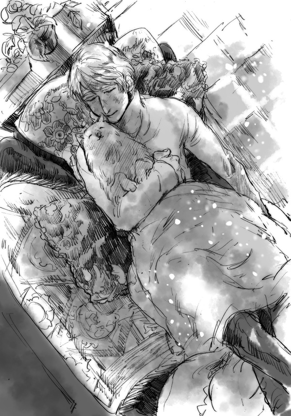 Tags: Anime, Pixiv Id 5932058, Axis Powers: Hetalia, Russiacat, Russia, Laying on Couch, Fanart, Nekotalia, Pixiv, Fanart From Pixiv