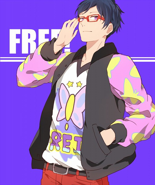 Tags: Anime, Spazzytoaster, Free!, Ryuugazaki Rei, Red-framed Glasses, Adjusting Glasses