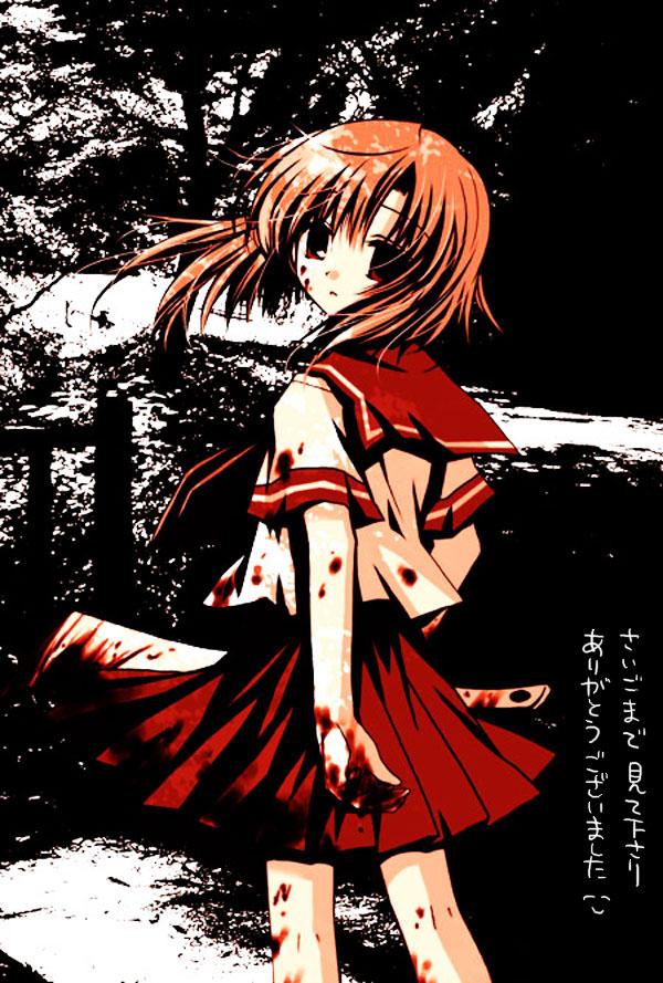 Tags: Anime, Sakurazawa Izumi, 07th Expansion, Higurashi no Naku Koro ni, Ryuuguu Rena, Billhook, Mobile Wallpaper