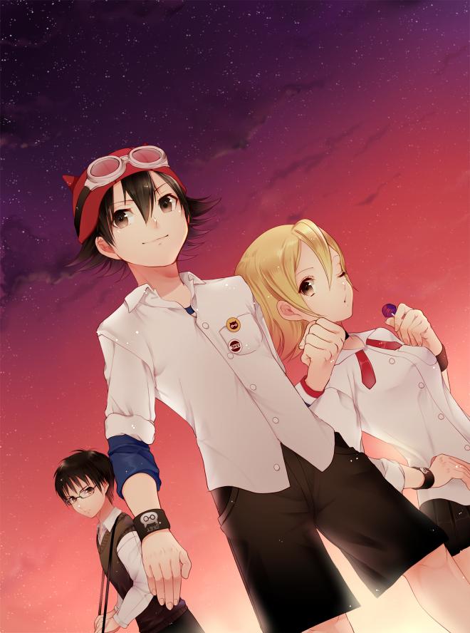 Tags: Anime, Momoshiki Tsubaki, SKET Dance, Usui Kazuyoshi, Fujisaki Yusuke, Onizuka Hime, Pixiv, Fanart