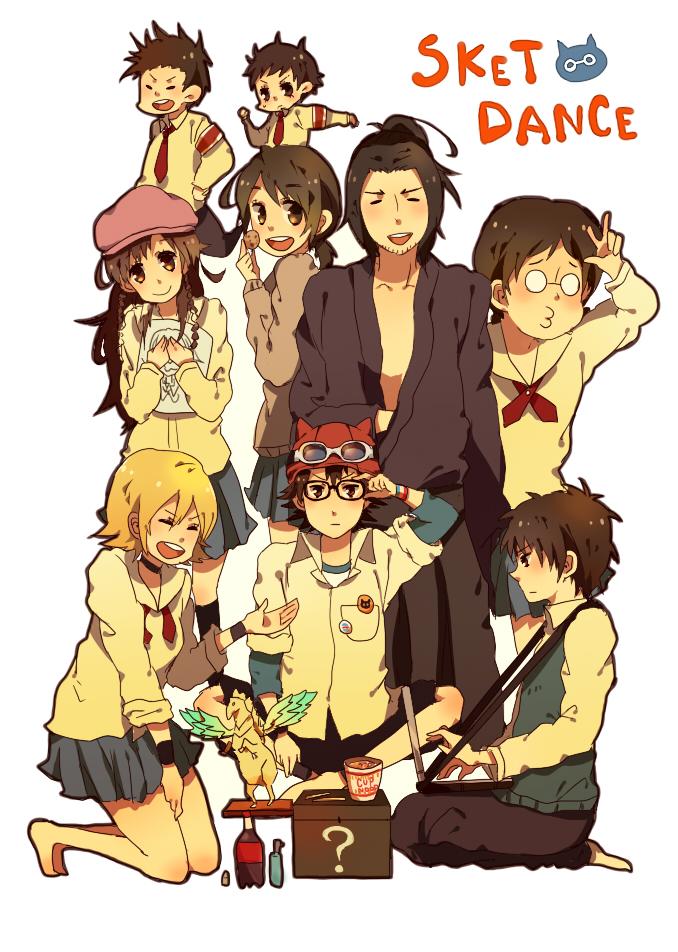 Tags: Anime, SKET Dance, Agata Soujirou, Usui Kazuyoshi, Fujisaki Yusuke, Onizuka Hime, Tsubaki Sasuke, Mobile Wallpaper