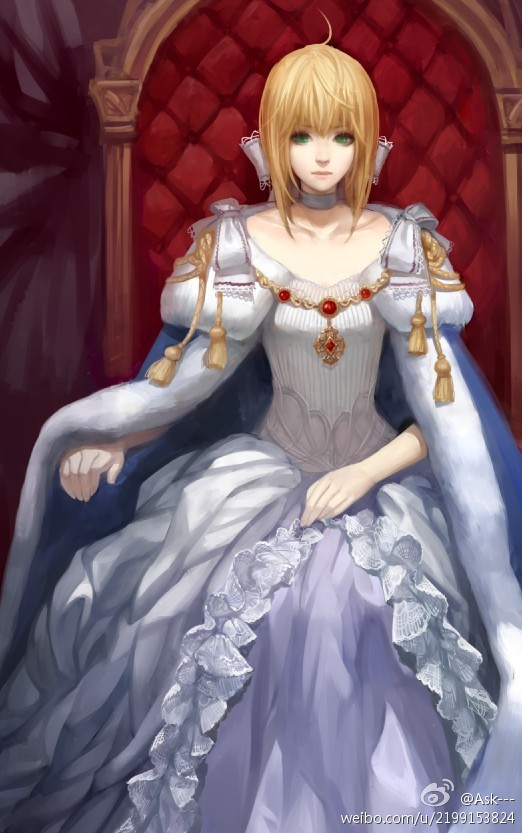 Tags: Anime, Asukaziye, Fate/stay night, Saber (Fate/stay night), Throne, Mobile Wallpaper, Fanart