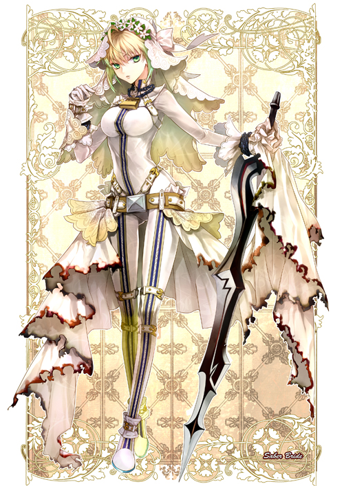 Tags: Anime, Xingna, Bloodwhisky, Fate/EXTRA CCC, Fate/EXTRA, Saber Bride, Saber (Fate/EXTRA), Aestus Estus, Padlock, Pixiv, Fanart
