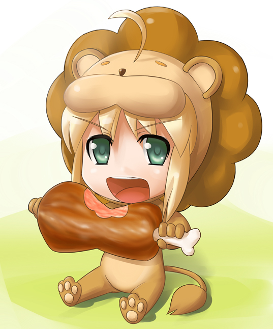 Tags: Anime, Sugar (Artist), TYPE-MOON, Fate/tiger colosseum, Saber (Fate/stay night), Saber Lion, Lion Costume, Meat, Fanart, Pixiv, Fanart From Pixiv