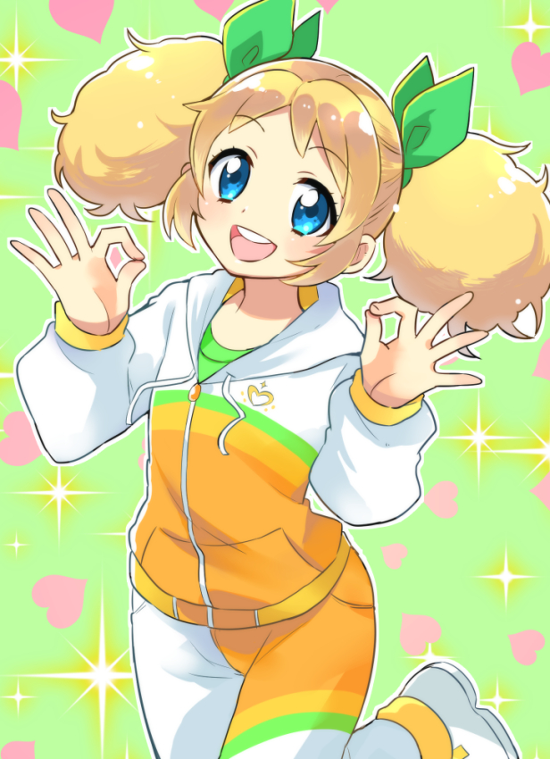 Tags: Anime, Gym Clothes, Sparkles, Otoutogimi, Green Background, A-ok, Green Bow