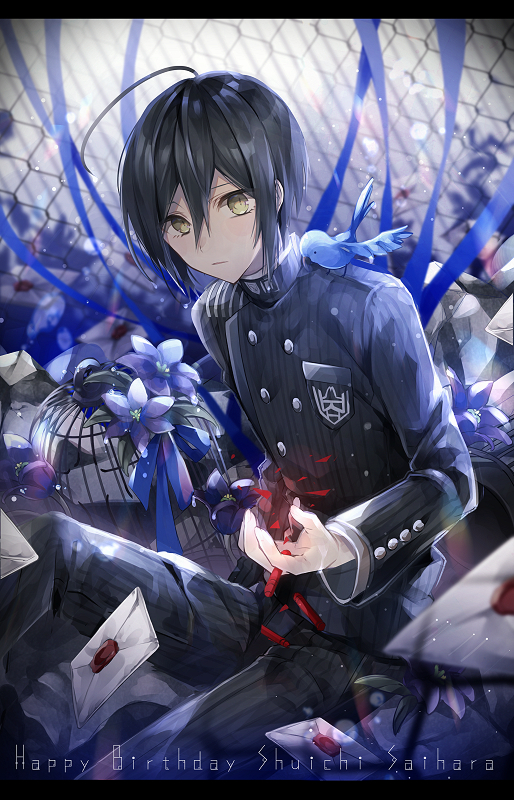 Tags: Anime, Pixiv Id 4530056, New Danganronpa V3, Saihara Shuuichi, Bird on Shoulder, Barbed Wire, Pixiv, Fanart, Fanart From Pixiv