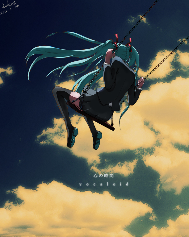 Tags: Anime, Lukas, VOCALOID, Hatsune Miku, Swing, Saihate, Pixiv