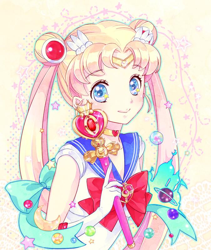 Tags: Anime, Katou Sami, Bishoujo Senshi Sailor Moon, Sailor Moon (Character), Tsukino Usagi, Cosmic Heart Compact, Spiral Heart Moon Rod, Fanart From Pixiv, Fanart, Pixiv