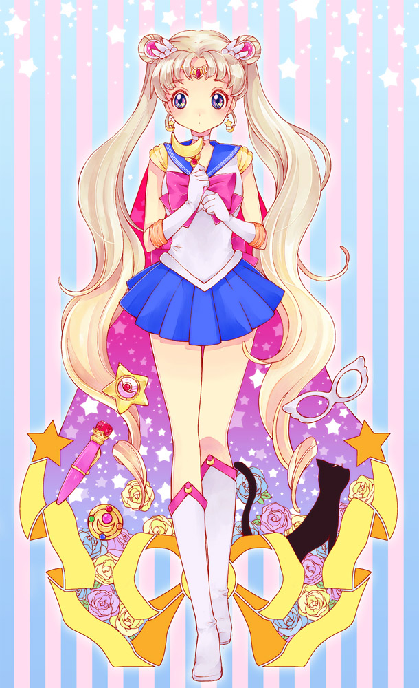 Tags: Anime, Katou Sami, Bishoujo Senshi Sailor Moon, Tsukino Usagi, Sailor Moon (Character), Luna (Sailor Moon), Music Box, Henshin Brooch, Moon Stick, Domino Mask, Henso Pen, Requested Upload, Pixiv