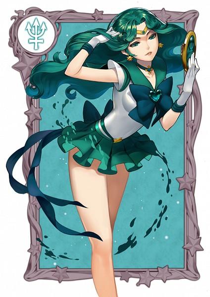 Tags: Anime, Pixiv Id 678995, Bishoujo Senshi Sailor Moon, Kaiou Michiru, Sailor Neptune, Mirror, Bare Knees