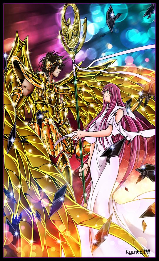 Tags: Anime, Saint Seiya, Saint Seiya Lost Canvas, Athena Sasha, Sagittarius Sisyphos, Scepter, Artist Request, Mobile Wallpaper, Gold Saints -the Lost Canvas