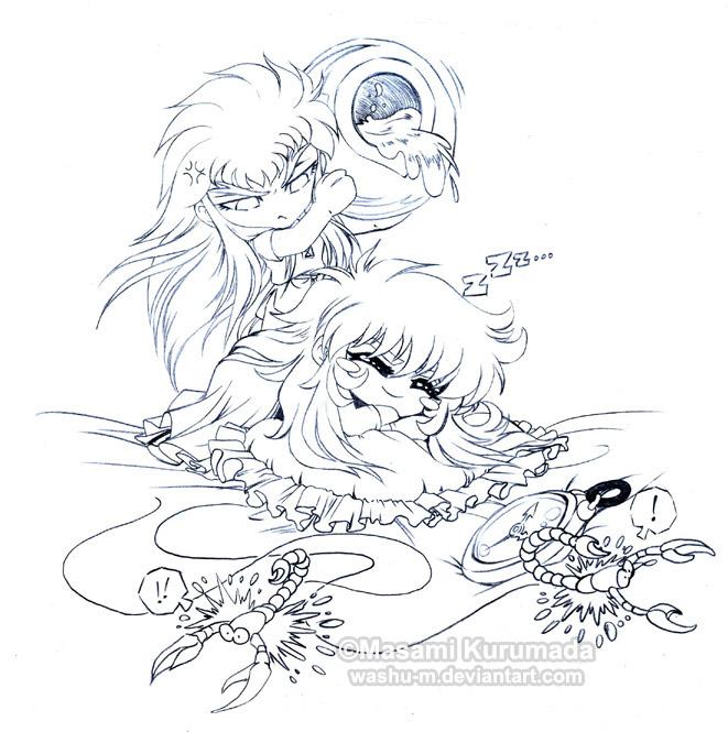 Tags: Anime, Saint Seiya, Aquarius Camus, Scorpio Milo, Scorpion, Tunic, Gold Saints