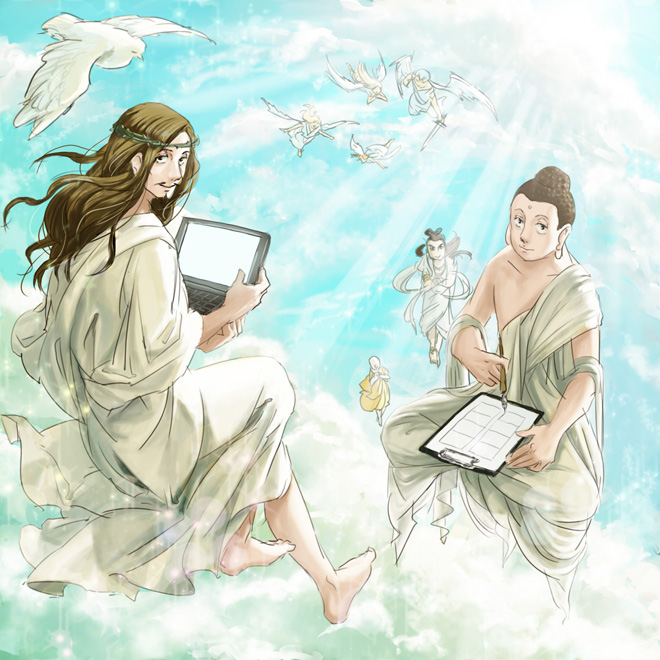 Tags: Anime, Pixiv Id 1061619, Saint Young Men, Ananda, Michael (Saint Young Men), Buddha (Saint Young Men), Raphael (Saint Young Men), Jesus (Saint Young Men), Gabriel (Saint Young Men), Uriel (Saint Young Men), Crown Of Thorns, Pixiv, Fanart