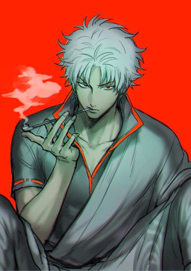 Anime Characters Smoking : Sakata gintoki zerochan