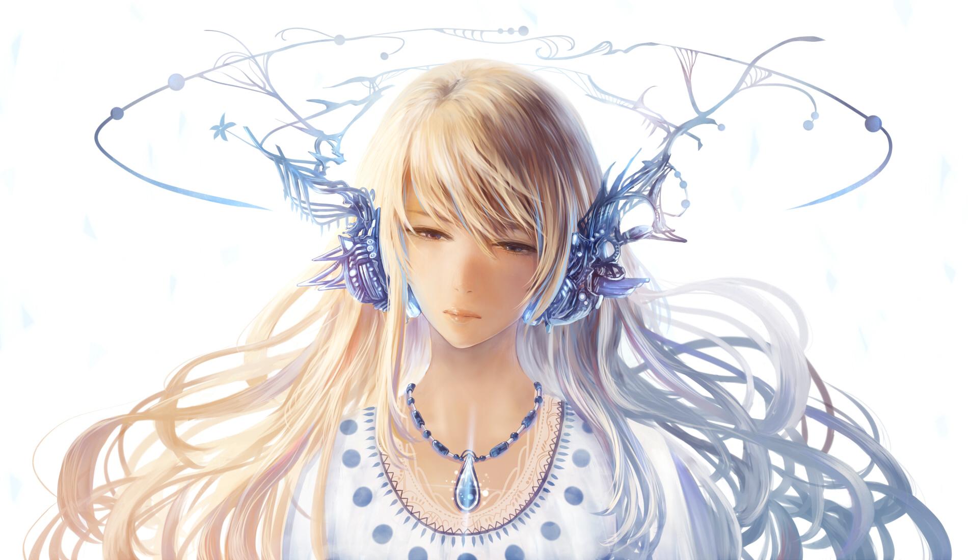 Картинки аниме девушки у которой светлые волосы