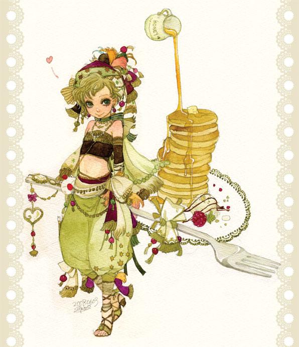 Tags: Anime, Sakizou, Final Fantasy VI, Relm Arrowny, Butter, Pancakes, Honey, Raspberries, Pixiv
