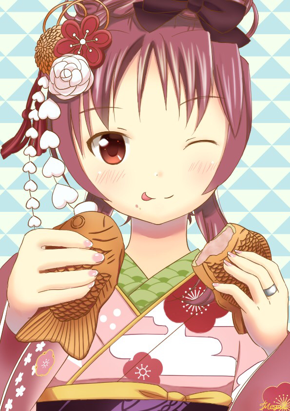 Tags: Anime, Pixiv Id 47437810, Mahou Shoujo Madoka☆Magica, Sakura Kyouko, Taiyaki, Fanart From Pixiv, Fanart, Pixiv