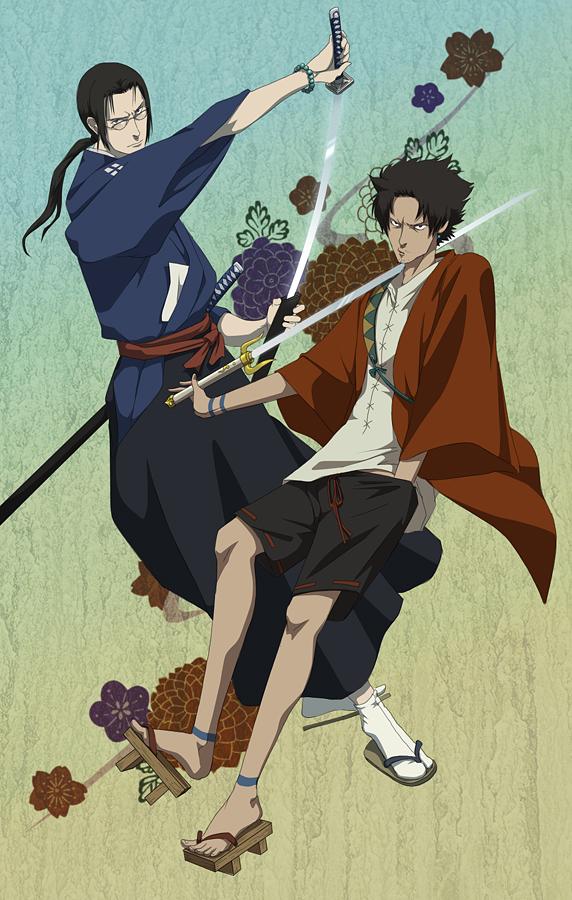 Tags: Anime, Doubleleaf, Samurai Champloo, Jin (Samurai Champloo), Mugen (Samurai Champloo), Stubble, Fanart, Mobile Wallpaper, Pixiv