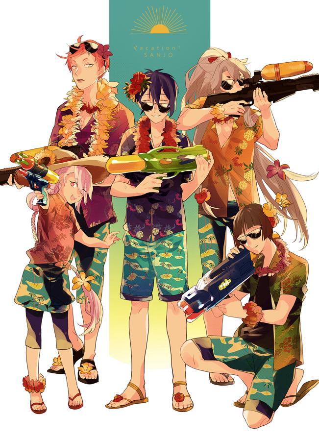 Tags: Anime, Kemekoco, Touken Ranbu, Ishikirimaru, Mikazuki Munechika, Kogitsunemaru, Iwatooshi, Imanotsurugi, Water Gun, Flower Necklace, Pixiv, Mobile Wallpaper, Sanjou School