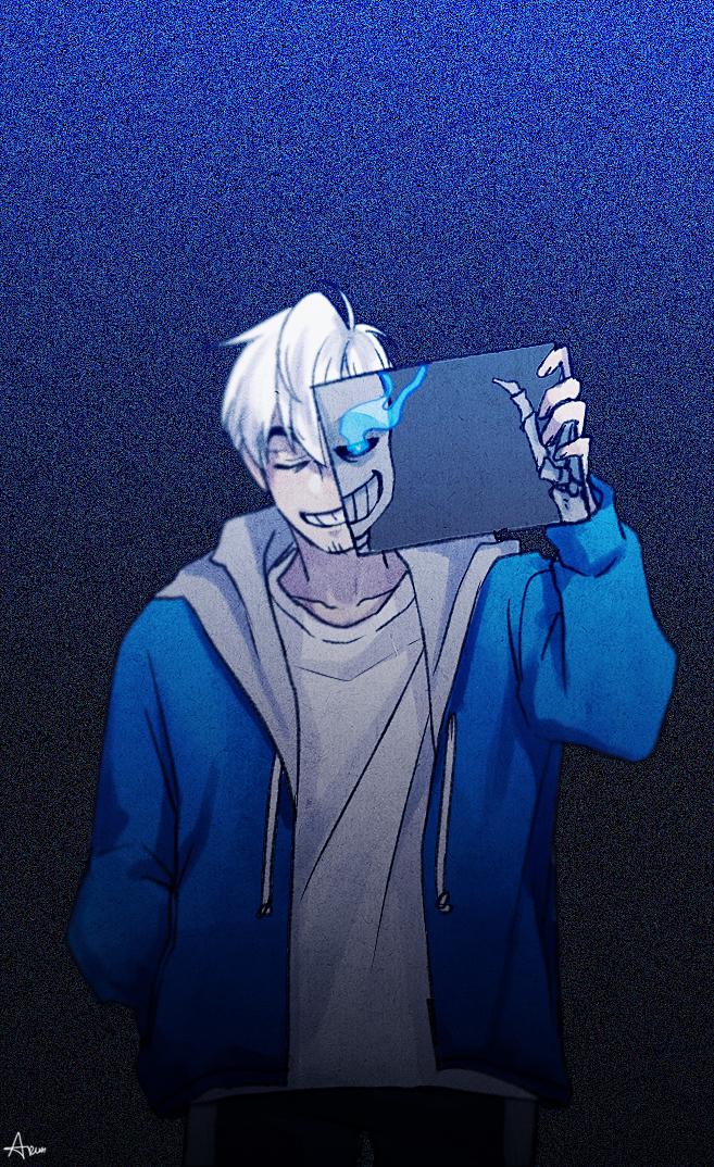 Tags: Anime, Lazuen, Undertale, Sans, Skeleton Arm, Fanart, Mobile Wallpaper, Tumblr, PNG Conversion