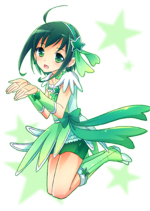 Tags: Anime, Parody, Green Outfit, Kneeling, Green Dress, Magical Boy, Arm Warmers