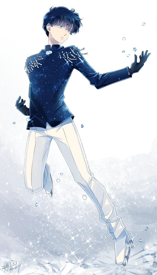 Tags: Anime, Saki Kunkatan, Bishoujo Senshi Sailor Moon, Saphir (BSSM), Ice Skates, Ice Skating, Fanart, Mobile Wallpaper, Pixiv, Fanart From Pixiv