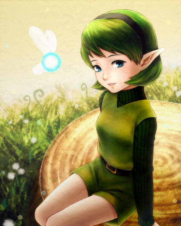 Tags: Anime, Pixiv Id 618303, Zelda no Densetsu: Toki no Ocarina, Zelda no Densetsu, Saria, Tree Stump, Fanart From Pixiv, Fanart, Pixiv