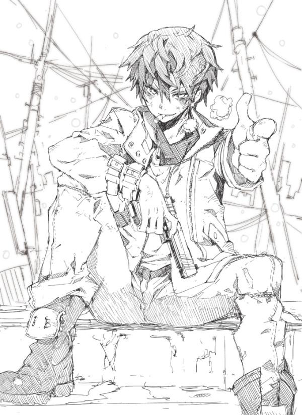Tags: Anime, Morino Hon, Black Bullet, Satomi Rentarou, Gun Gesture, Aiming At Camera, Official Art, Pixiv, Sketch, Mobile Wallpaper, Fanart From Pixiv, Fanart