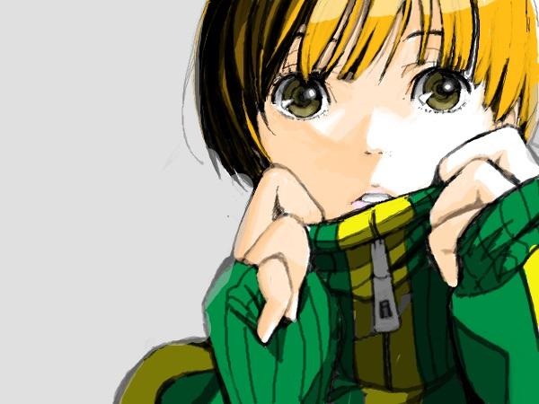 Tags: Anime, Shin Megami Tensei: PERSONA 4, Satonaka Chie, Sketch, PNG Conversion, Artist Request