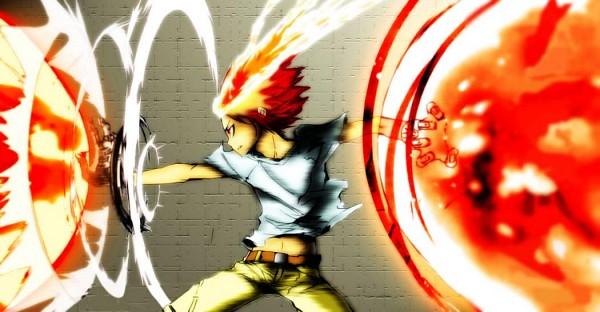Tags: Anime, Amano Akira, Katekyo Hitman REBORN!, Sawada Tsunayoshi, T-shirt, Dying Will Flame, Fight Stance
