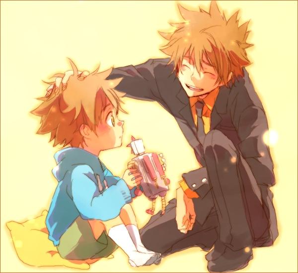 Tags: Anime, Yamato Pochi, Katekyo Hitman REBORN!, Sawada Tsunayoshi, Robot Toy, Confused, Fanart, Pixiv